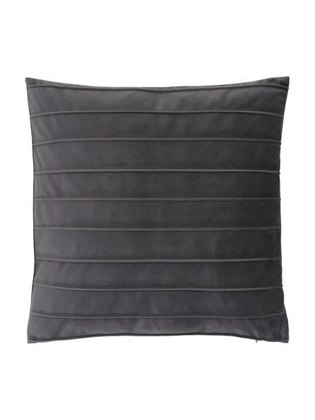 Federa arredo in velluto grigio scuro con motivo Lola, Velluto (100% poliestere), Grigio, Larg. 40 x Lung. 40 cm