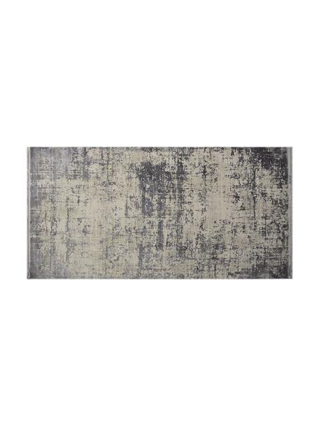 Tappeto vintage con frange effetto lucido Cordoba, Retro: 100% cotone, Tonalità grigie con le sfumature viola, Larg. 80 x Lung. 150 cm (taglia XS)