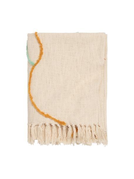 Katoenen plaid Malva met gekleurde lijnen en franjes, 100% katoen, Crèmekleurig, multicolour, 120 x 180 cm
