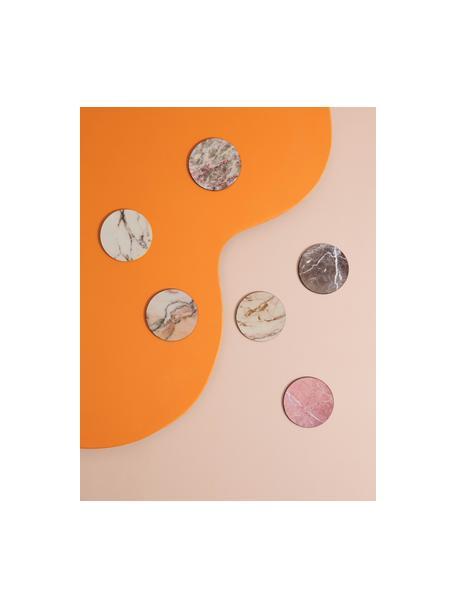 Kurken onderzetters Cara in marmerlook, 6-delig, Bekleed kurk, Marmeren look, Ø 10 cm
