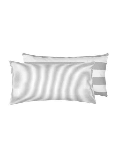 Flanell-Wendekissenbezüge Dora, gestreift, 2 Stück, Webart: Flanell Flanell ist ein k, Weiß, Grau, 40 x 80 cm
