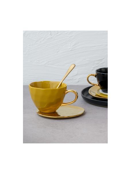 Talerz deserowy Good Morning, Kamionka powlekana, Odcienie złotego, Ø 22 cm