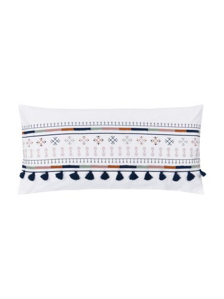 Haftowana poszewka na poduszkę z bawełny z chwostami Inda, 2 szt., Biały, S 40 x D 80 cm