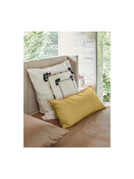 Haftowana poszewka na poduszkę z perkalu z chwostami Inda, 2 szt., Biały, S 40 x D 80 cm