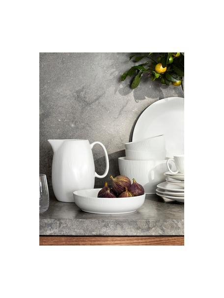 Handgemachte Schalen Sandvig mit leichtem Rillenrelief, 4 Stück, Porzellan, durchgefärbt, Gebrochenes Weiß, Ø 19 x H 4 cm