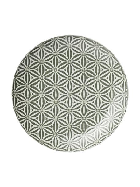 Talerz śniadaniowy Abella, 2 szt., Ceramika, Zielony, biały, Ø 24 x W 3 cm