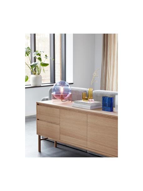 Kleine tafellamp Glondy van gekleurd glas, Lampenkap: glas, Lampvoet: glas, Blauw, roze, Ø 27 x H 29 cm