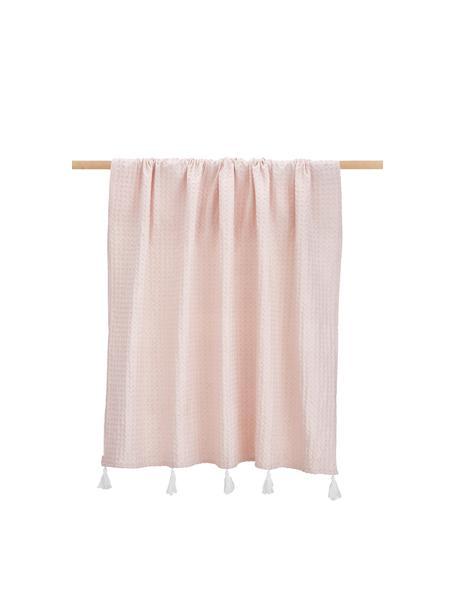 Pled z piki z chwostami Gopher, 100% bawełna, Jasny różowy, S 125 x D 150 cm