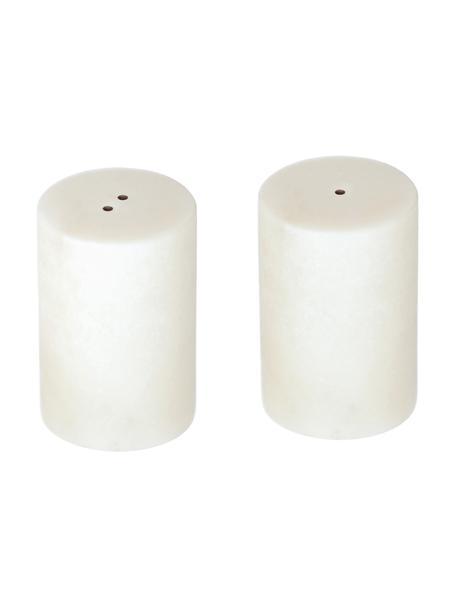 Marmor-Salz- und Pfefferstreuer Claria, 2er-Set, Marmor, Weiß, marmoriert, Ø 5 x H 8 cm