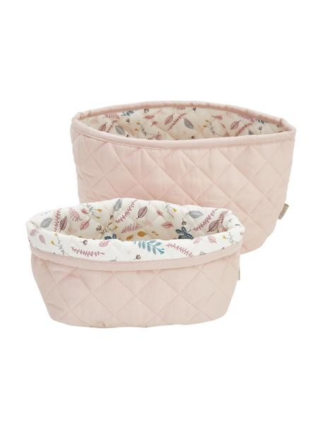 Set de cestas de algodón ecológico Pressed Leaves, 2pzas., Tapizado: 100%algodón ecológico, c, Crema, rosa, azul, gris, Set de diferentes tamaños