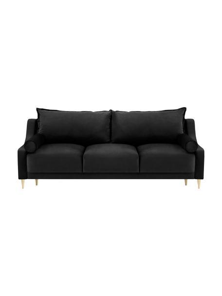 Sofá cama Lea (3plazas), con espacio de almacenamiento, Tapizado: terciopelo de poliéster A, Patas: metal con pintura en polv, Negro, An 215 x F 94 cm