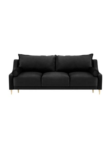 Sofá cama Leo (3plazas), con espacio de almacenamiento, Tapizado: terciopelo de poliéster A, Patas: metal con pintura en polv, Negro, An 215 x F 94 cm