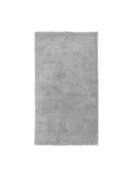 Pluizig hoogpolig vloerkleed Leighton in grijs, Bovenzijde: 100% polyester (microveze, Onderzijde: 70% polyester, 30% katoen, Grijs, B 80 x L 150 cm (maat XS)