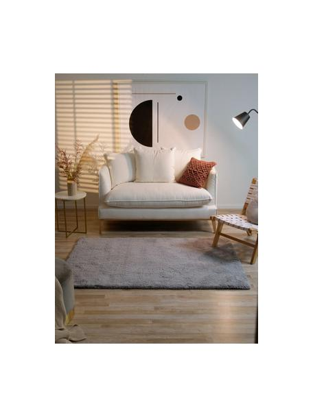 Pluizig hoogpolig vloerkleed Leighton in grijs, Bovenzijde: microvezels (100% polyest, Onderzijde: 70% polyester, 30% katoen, Grijs, B 80 x L 150 cm (maat XS)