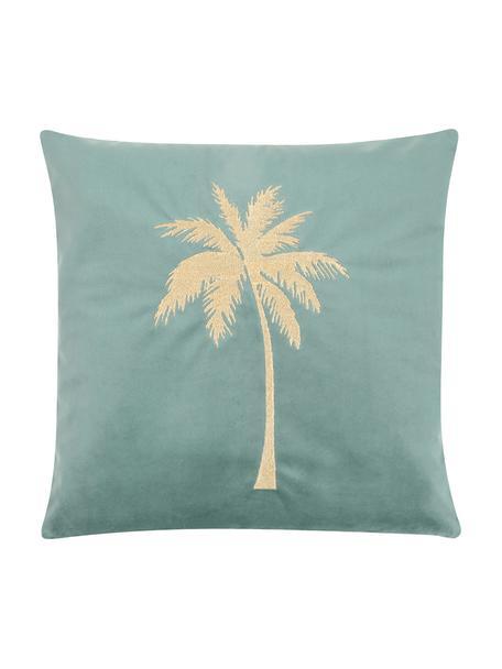 Poszewka na poduszkę z aksamitu Palmsprings, 100% aksamit poliestrowy, Miętowy, odcienie złotego, S 40 x D 40 cm