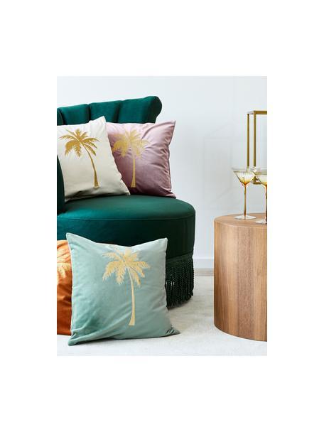 Funda de cojín bordada de terciopelo brillante Palmsprings, 100%terciopelo de poliéster, Menta, dorado, An 40 x L 40 cm