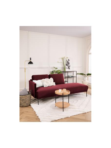 Fluwelen chaise longue Fluente in roodbruin met metalen poten, Bekleding: fluweel (hoogwaardig poly, Frame: massief grenenhout, Poten: gepoedercoat metaal, Bordeauxrood, B 202 x D 85 cm
