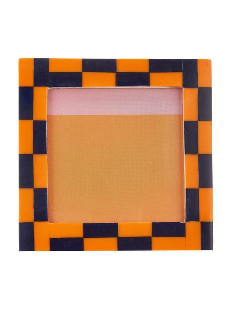 Ramka na zdjęcia Check, Tworzywo sztuczne, Pomarańczowy, niebieski, S 13 x D 13 cm