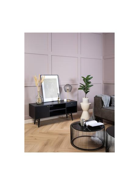 Zwart tv-meubel Verona, Frame: gelakt MDF met eikenhoutf, Poten: gepoedercoat metaal, Zwart, 160 x 50 cm