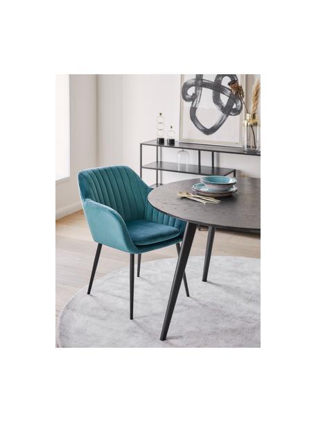 Krzesło z podłokietnikami z aksamitu i metalowymi nogami Emilia, Tapicerka: aksamit poliestrowy Dzięk, Nogi: metal lakierowany, Aksamit niebieski, czarny, S 57 x G 59 cm