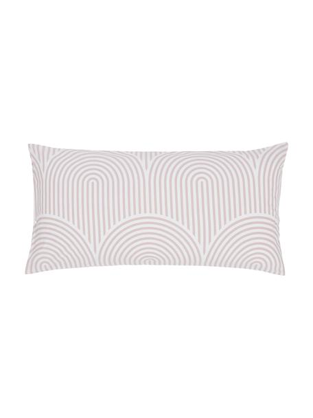Gemusterte Baumwoll-Kissenbezüge Arcs in Altrosa/Weiß, 2 Stück, Webart: Renforcé Fadendichte 144 , Rosa,Weiß, 40 x 80 cm