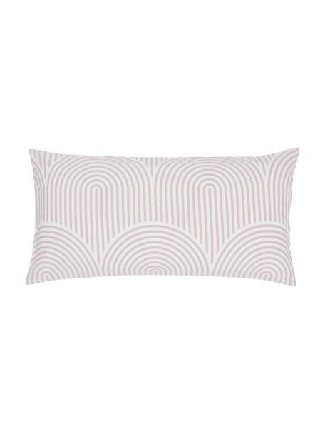 Gemusterte Baumwoll-Kopfkissenbezüge Arcs in Altrosa/Weiß, 2 Stück, Webart: Renforcé Fadendichte 144 , Rosa,Weiß, 40 x 80 cm