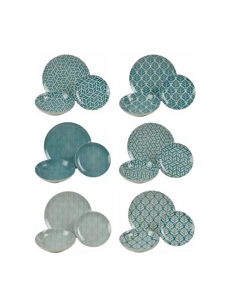 Serviesset Bali Leaf, 6 personen (18-delig), Porselein, Blauw, wit, Set met verschillende formaten