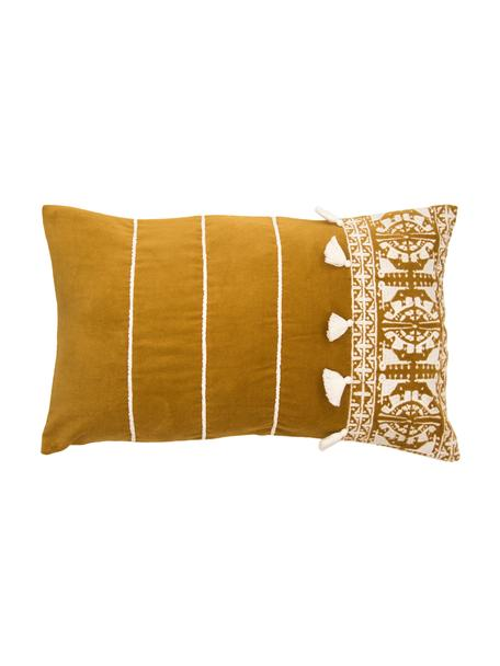 Funda de cojín bordada con borlas Neo Berbère, 50%poliéster, 50%algodón, Amarillo, blanco, An 30 x L 50 cm