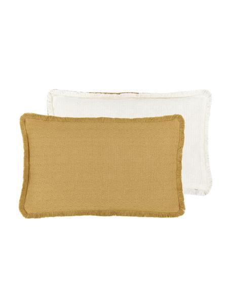 Federa arredo reversibile color giallo con frange Loran, 100% cotone, Giallo, Larg. 30 x Lung. 50 cm