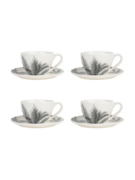 Kopjes met schoteltjes Papaye met palmbladmotief, 4 stuks, Porselein, Wit, zwart, Ø 9 x 7 cm