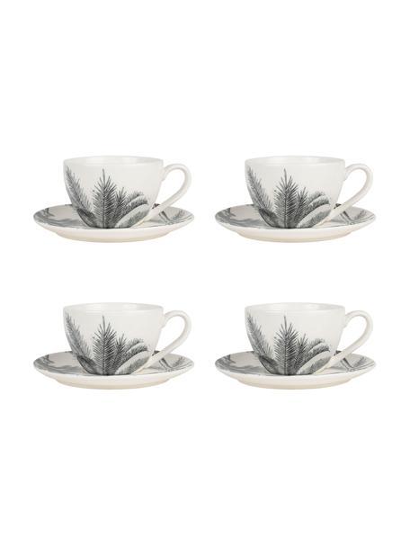 Tassen mit Untertassen Papaye mit Palmenblattmotiv, 4 Stück, Porzellan, Weiß, Schwarz, Ø 9 x 7 cm