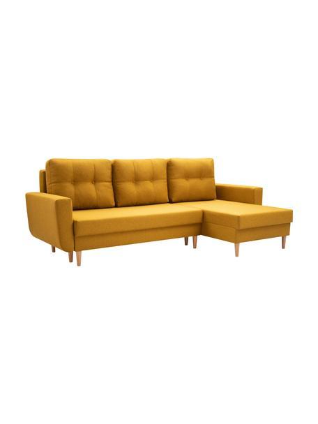 Sofa narożna z funkcją spania i schowkiem Neo (4-osobowa), Tapicerka: 100% poliester, Żółty, S 230 x G 140 cm