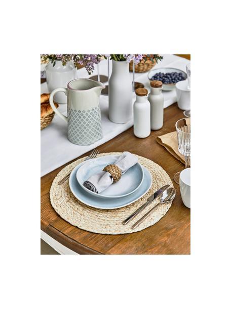 Set van 2 handgemaakte soepborden Amalia met effectief glazuur, Keramiek, Lichtblauw, crèmewit, Ø 20 cm