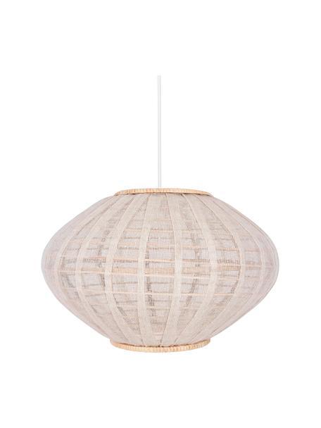 Hanglamp Borneo van rotan en linnen, Lampenkap: linnen, Baldakijn: gecoat metaal, Beige, gebroken wit, Ø 43 x H 26 cm