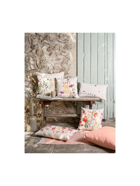 Poszewka na poduszkę Caleo, 85% bawełna, 15% len, Beżowy, wielobarwny, S 40 x D 40 cm