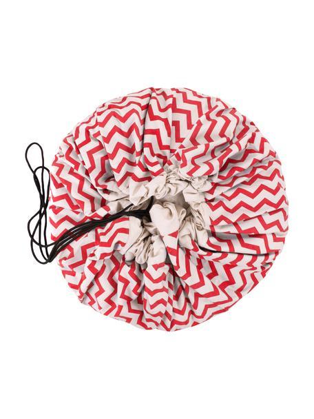 Sacco per giocattoli Zigzag, Poliestere, Rosso, bianco, Ø 140 cm
