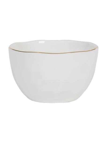 Schälchen Good Morning in Weiß mit goldfarbenem Rand, Steingut, Weiß, Goldfarben, Ø 14 cm