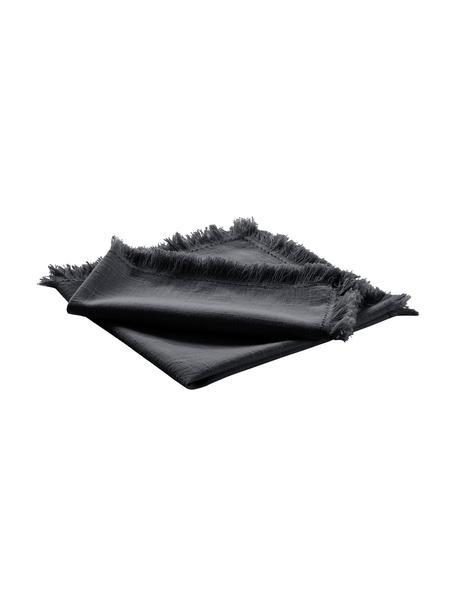 Tovagliolo in tessuto con frange Henley 2 pz, 100% cotone, Blu scuro, Larg. 45 x Lung. 45 cm