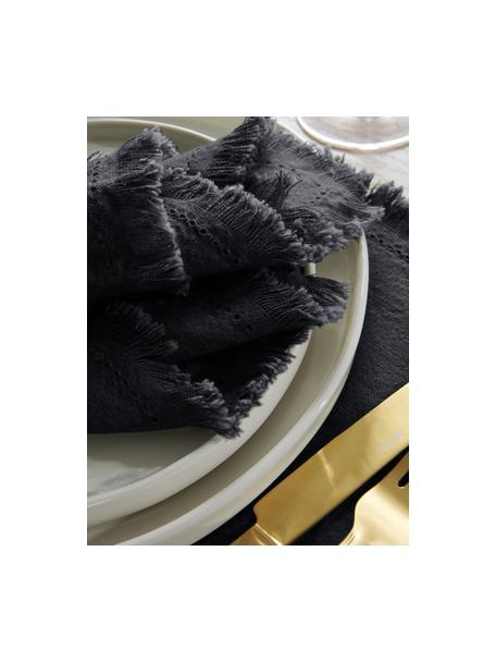 Stoffen servetten Henley met franjes, 2 stuks, 100% katoen, Donkerblauw, 45 x 45 cm