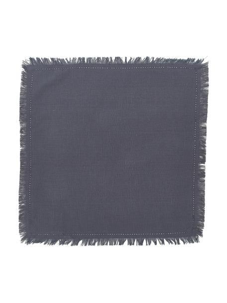 Stoff-Servietten Henley mit Fransen, 2 Stück, 100% Baumwolle, Dunkelblau, 45 x 45 cm
