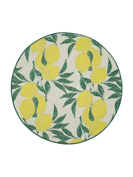 In- & outdoor vloerkleed Limonia met citroenenprint, 86% polypropyleen, 14% polyester, Wit, geel, groen, Ø 140 cm (maat M)
