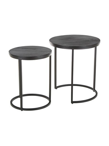 Set de mesas auxiliares Andrew, 2uds., Tablero: madera de mango maciza, c, Estructura: metal con pintura en polv, Negro, Set de diferentes tamaños