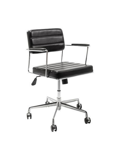 Biurowe krzesło obrotowe ze sztucznej skóry Dottore, Tapicerka: sztuczna skóra (100% tkan, Stelaż: stal chromowana, Czarny, chrom, S 44 x G 50 cm