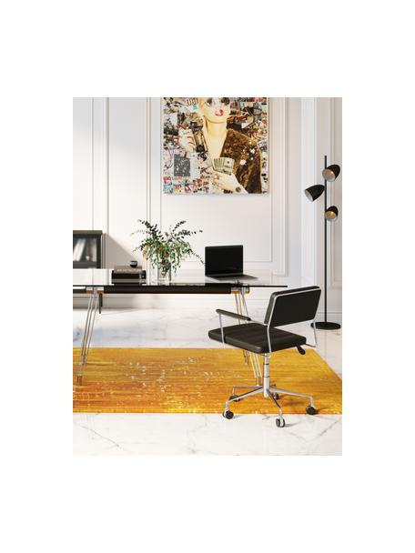 Kunstleren bureaustoel Dottore in zwart, Bekleding: kunstleer (100% textiel, , Zitvlak: multiplex, naturel, Frame: verchroomd staal, Wieltjes: polyurethaan, Zwart, chroomkleurig, 44 x 50 cm