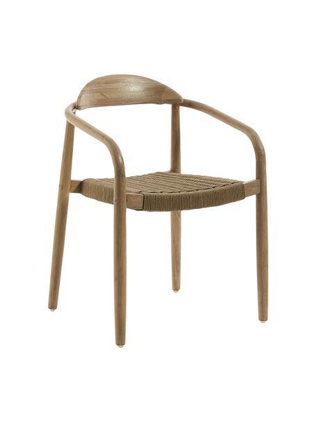 Sedia in legno massiccio con braccioli Nina, Struttura: legno massiccio di eucali, Seduta: poliestere, resistente ai, Marrone, Larg. 56 x Prof. 53 cm