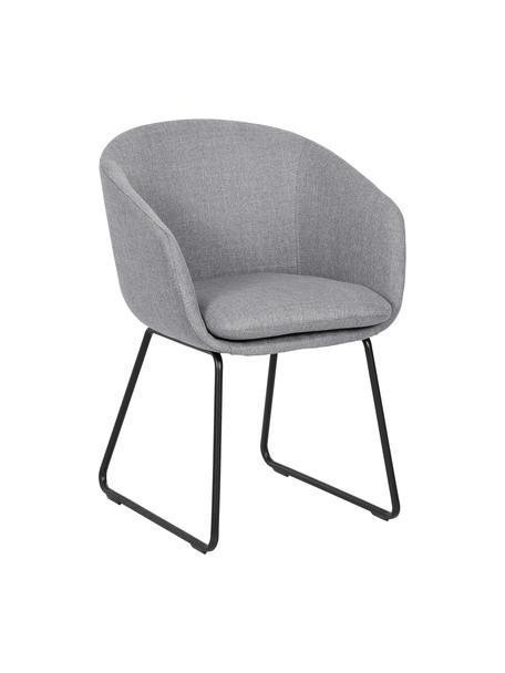 Sedia con braccioli imbottita Juri, Rivestimento: poliestere 50.000 cicli d, Gambe: metallo verniciato a polv, Grigio chiaro, Larg. 55 x Prof. 57 cm