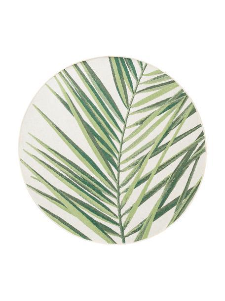 Rond in- & outdoor vloerkleed Capri met bladmotief, 100% polypropyleen, Groen, beige, Ø 160 cm (maat L)