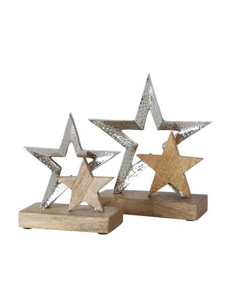 Deko-Sterne Banja in Silber, 2 Stück, Sockel: Holz, Silberfarben, Beige, Set mit verschiedenen Größen
