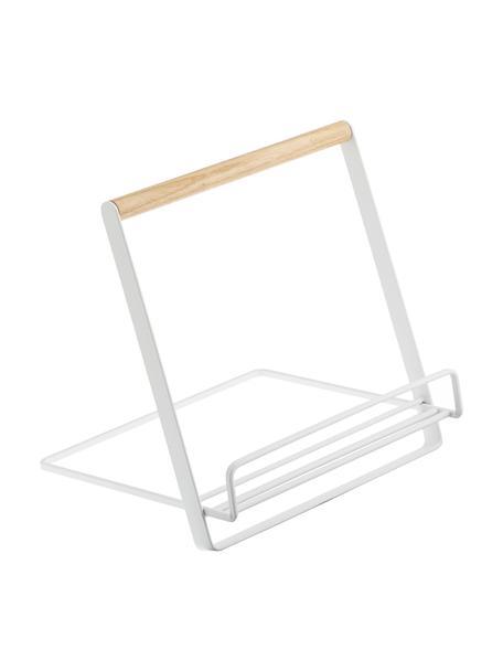 Estante para libros de cocina Tosca, Estructura: acero recubierto, Blanco, madera, An 20 x Al 20 cm
