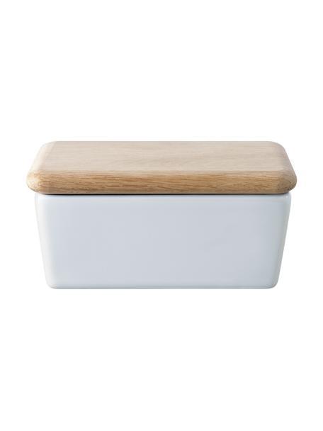 Burriera Dine, Contenitore: porcellana, Coperchio: legno di quercia, Bianco, legno di quercia, Larg. 14 x Alt. 7 x Prof. 10 cm